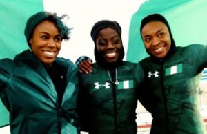 Nigerian women's bobsled team competeting in 2018 Olympics