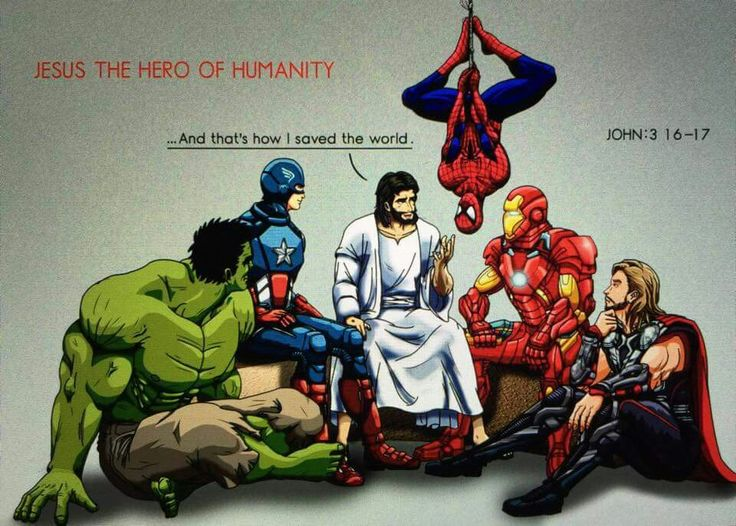 """Jesus and Superheroes. Jesus says, """"And that's how I saved the world."""""""