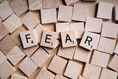 Fear spelled in scrabble blocks