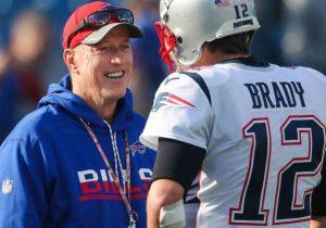 Jim Kelly talking to Tom Brady
