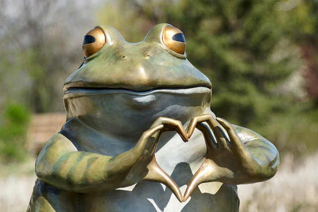 Frog heart sculpture