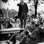 Teddy Roosevelt giving a speech