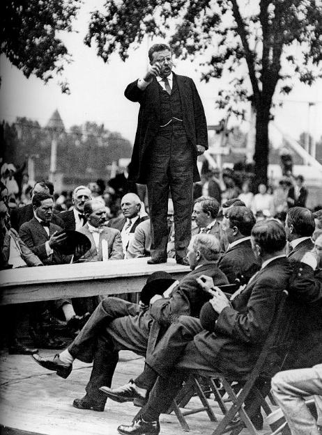 Teddy Roosevelt giving a speech