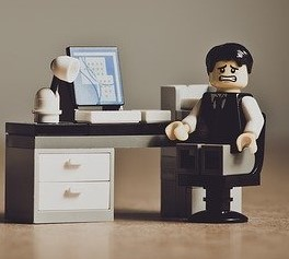 lego man at desk